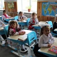 Першокласники на першому уроці