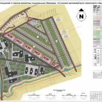 Проєктний план поєднаний з схемою проєктних планувальних обмежень та схемою організації руху транспорту і пішоходів