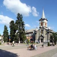 Панорама центру міста Тячів