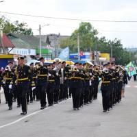 Урочиста хода да участю військового оркестру 194-го понтонно-мостового загону.