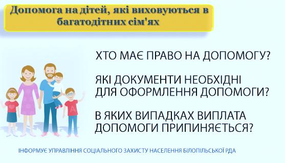 Допомога на дітей, які виховуються в багатодітних сім'ях