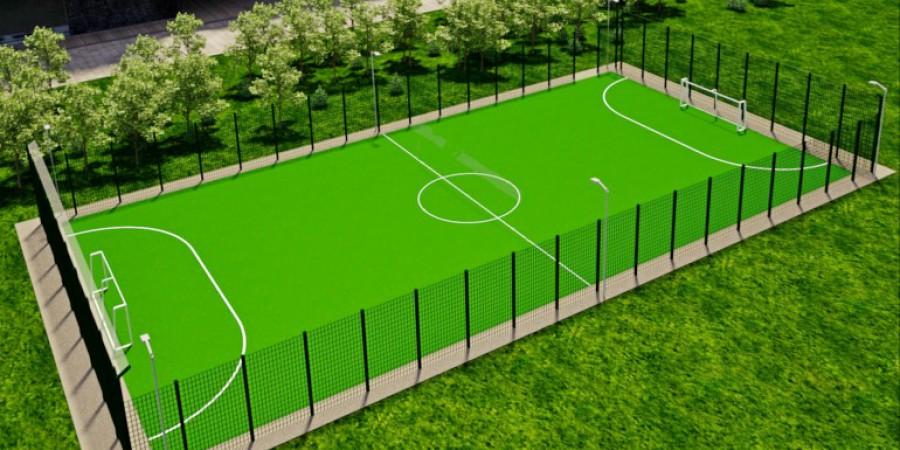 На території Гніванської ЗОШ №2 розпочалося будівництво спортивного майданчика зі штучним газоном розміром міні-футбольного поля.