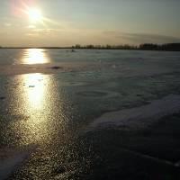 зимовий захід сонця над Світязем