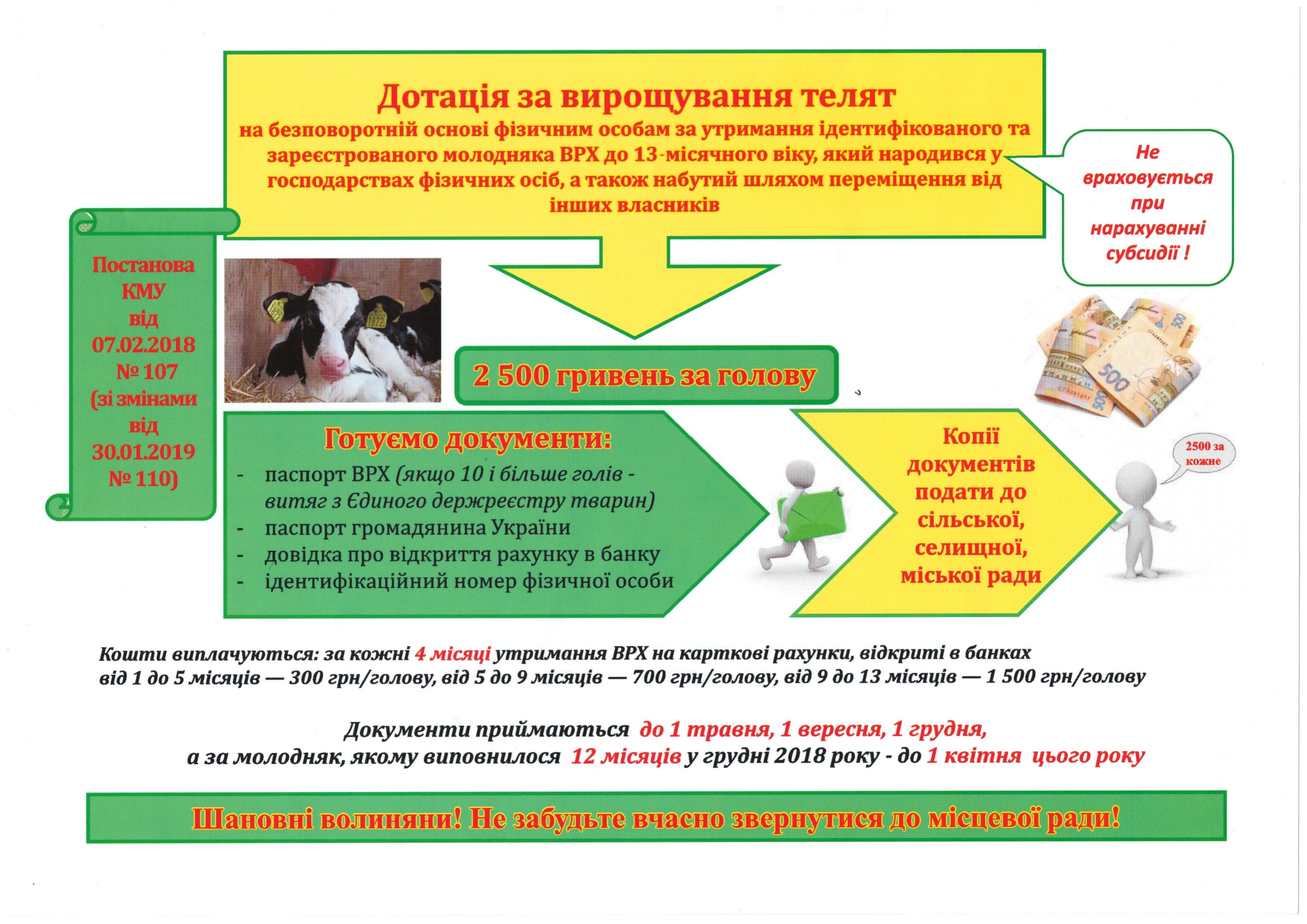 інформація щодо виплати дотації за утримання молодняка ВРХ