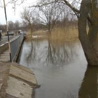 Ранок.На мосту ще є поручні.Потім їх зріжуть аби не знесло водою