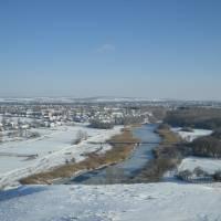 вид на Новопсков з гори Пристін взимку