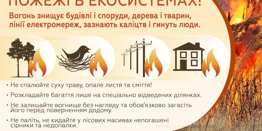 Не провокуйте пожежі в екосистемах