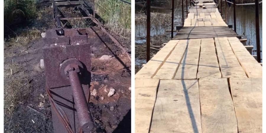 Поточний ремонт підвісного мосту через річку Сухий Торець в с. Троїцьке