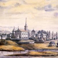 Монастир тринітаріїв у Ржищеві. Малюнок Наполеона Орди (1870—1874)