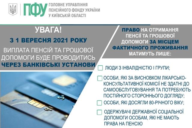 З 1 вересня 2021 року  Виплата пенсій та грошової допомоги буде проводитися через банківської допомоги