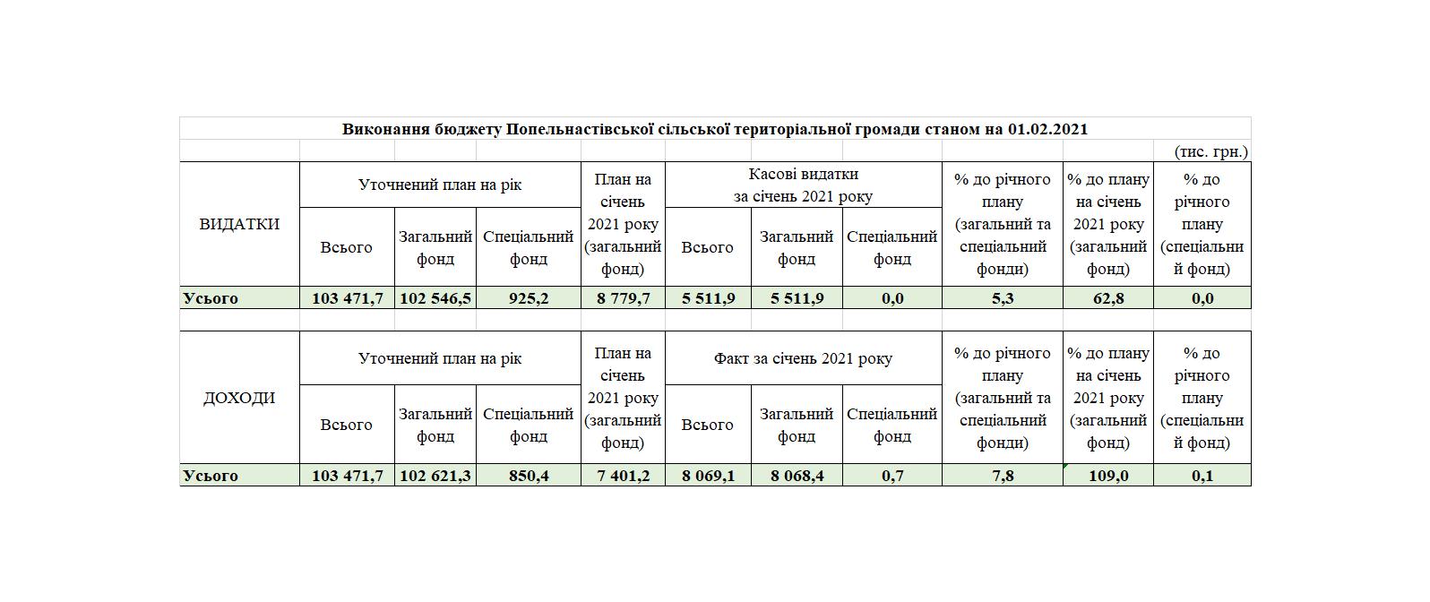 Виконання бюджету Попельнастівської сільської територіальної громади станом на 01.02.2021