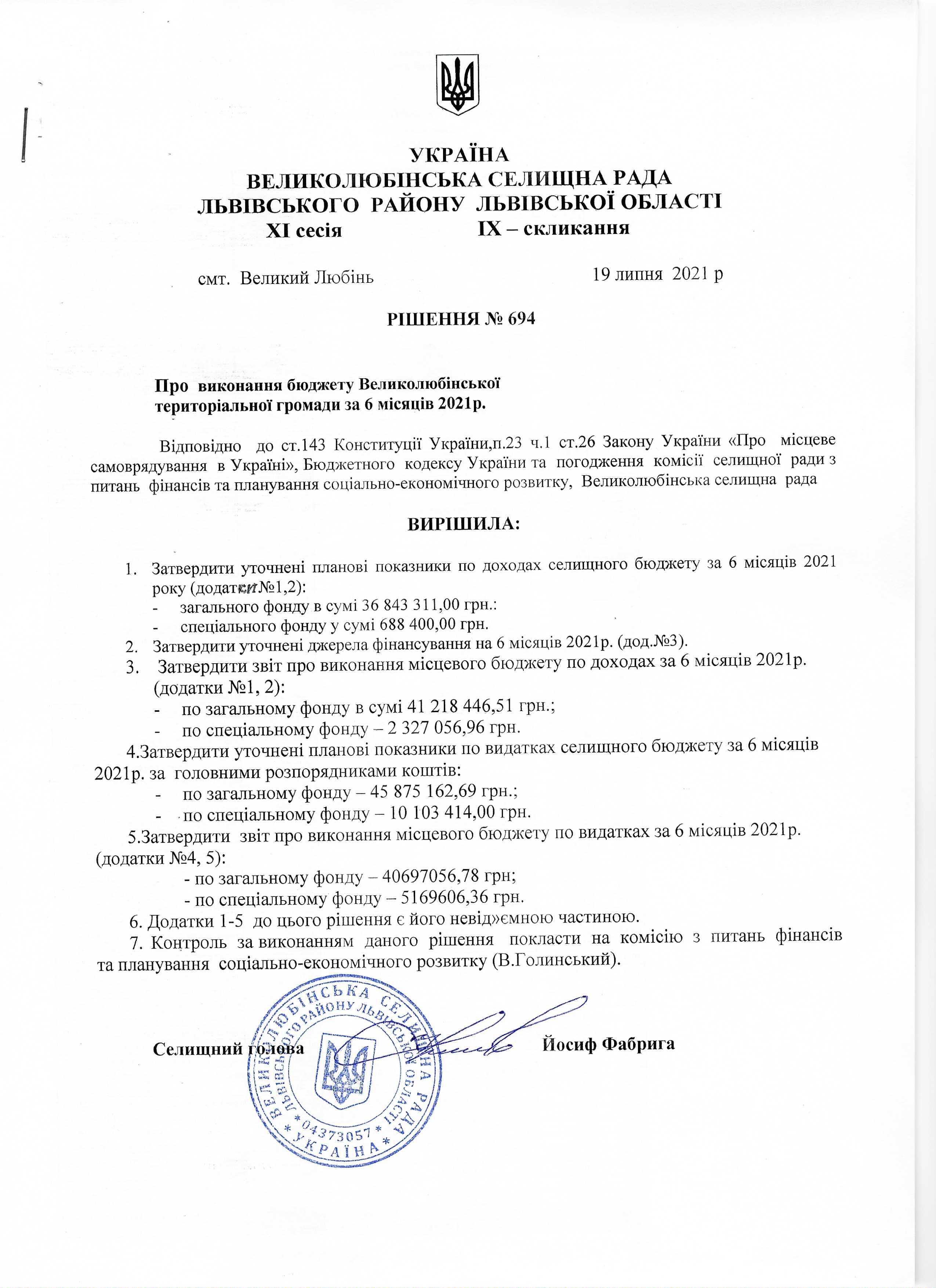 Рішення Про виконання бюджету з Великолюбінської територіальної громади за 6 місяців 2021р.