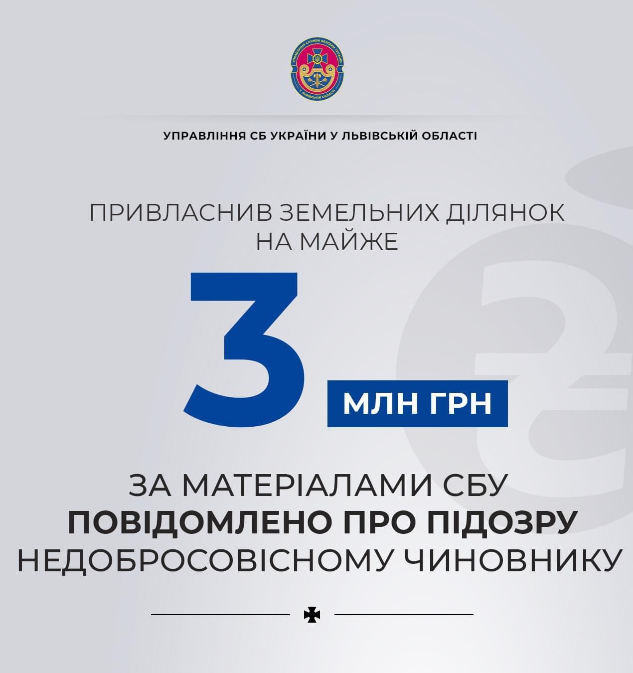 Привласнив земельних ділянок на майже 3 млн грн: за матеріалами СБУ повідомлено про підозру недобросовісному чиновнику