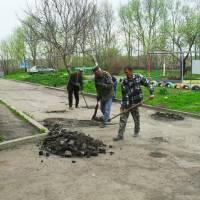 Підготовка до ямкового ремонту проїзджої частини по вул. Соборній 148А, 148Б, 148В, 148Г