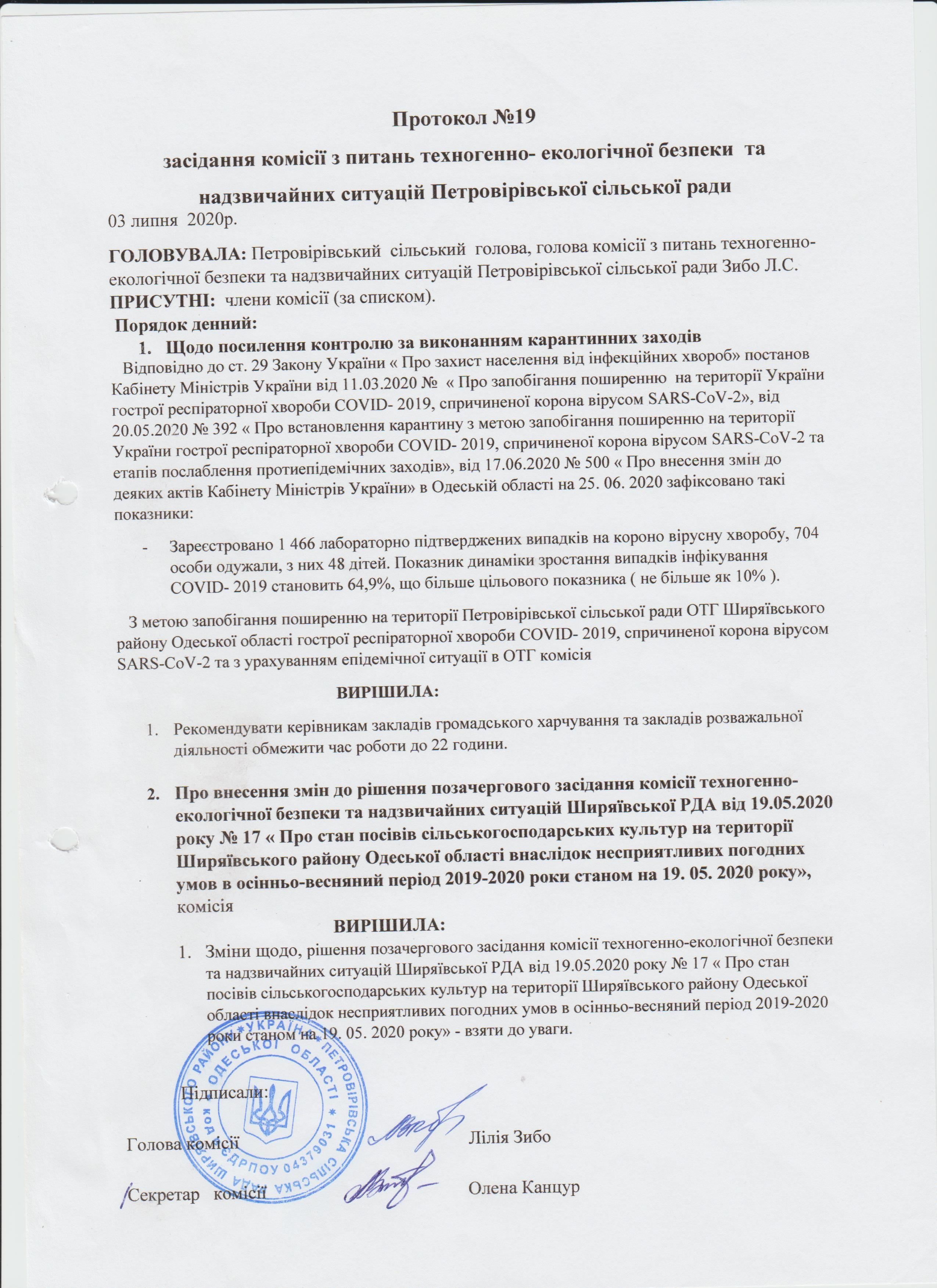 Протокол №19 засідання комісії з питань техногенно-екологічної безпеки та надзвичайних ситуацій Петровірівської сільської ради