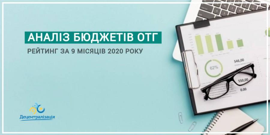 АНАЛІЗ ОКРЕМИХ ПОКАЗНИКІВ ДІЯЛЬНОСТІ ОТГ за 9 місяців 2020 року.