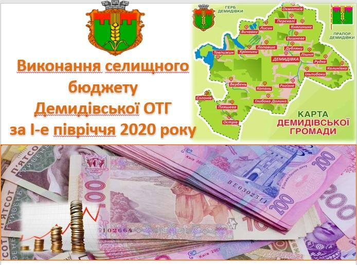 Виконання селищного бюджету Демидівської ОТГ за І-е півріччя 2020 року