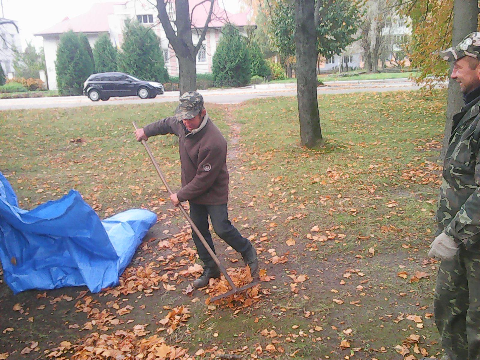 Листя у парках Ямполя прибирається вчасно