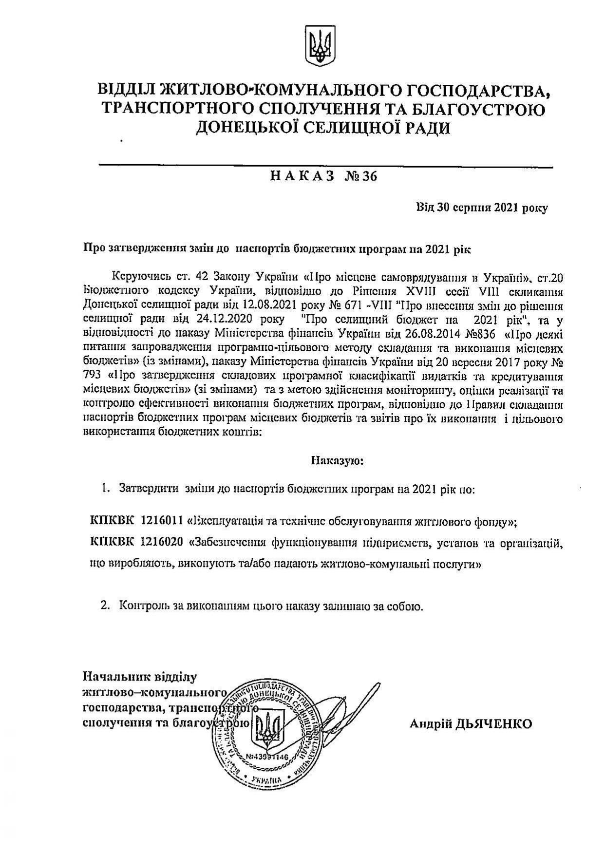 Наказ №36 Про затвердження змін до паспортів бюджетних програм на 2021 рік