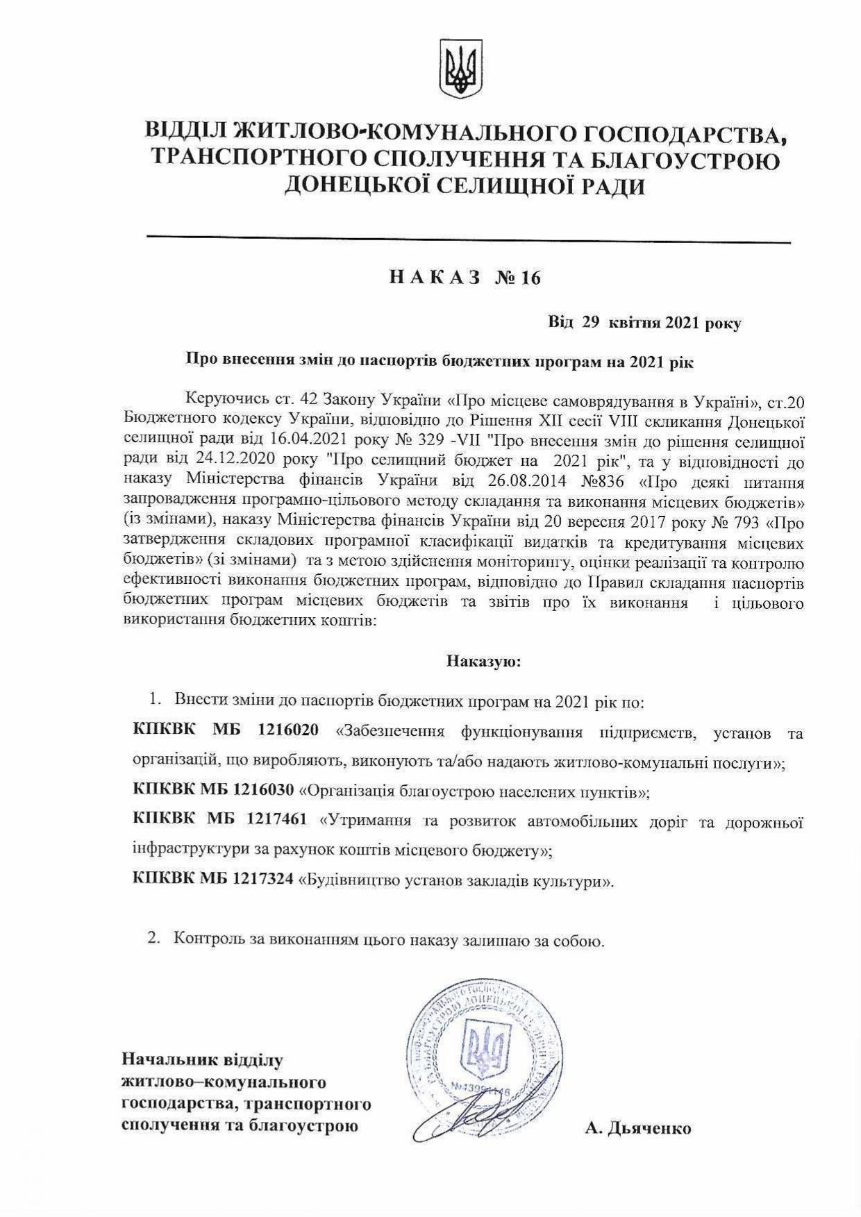 Наказ №16 Про внесення змін до паспортів бюджетних програм на 2021рік