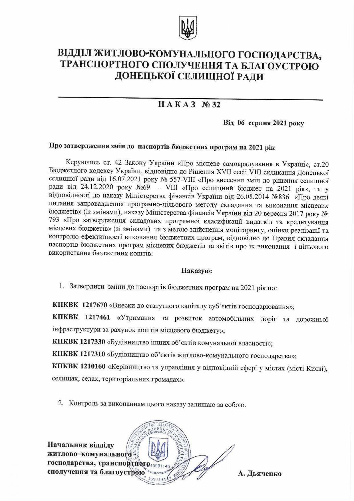Наказ №32 Про затвердження змін до паспортів бюджетних програм на 2021 рік
