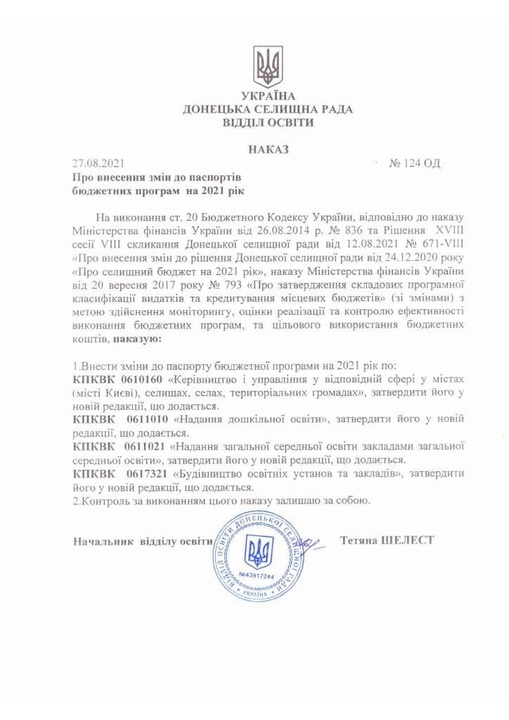 Наказ №124 ОД від 27.08.2021р. Про внесення змін до паспортів бюджетних програм на 2021 рік