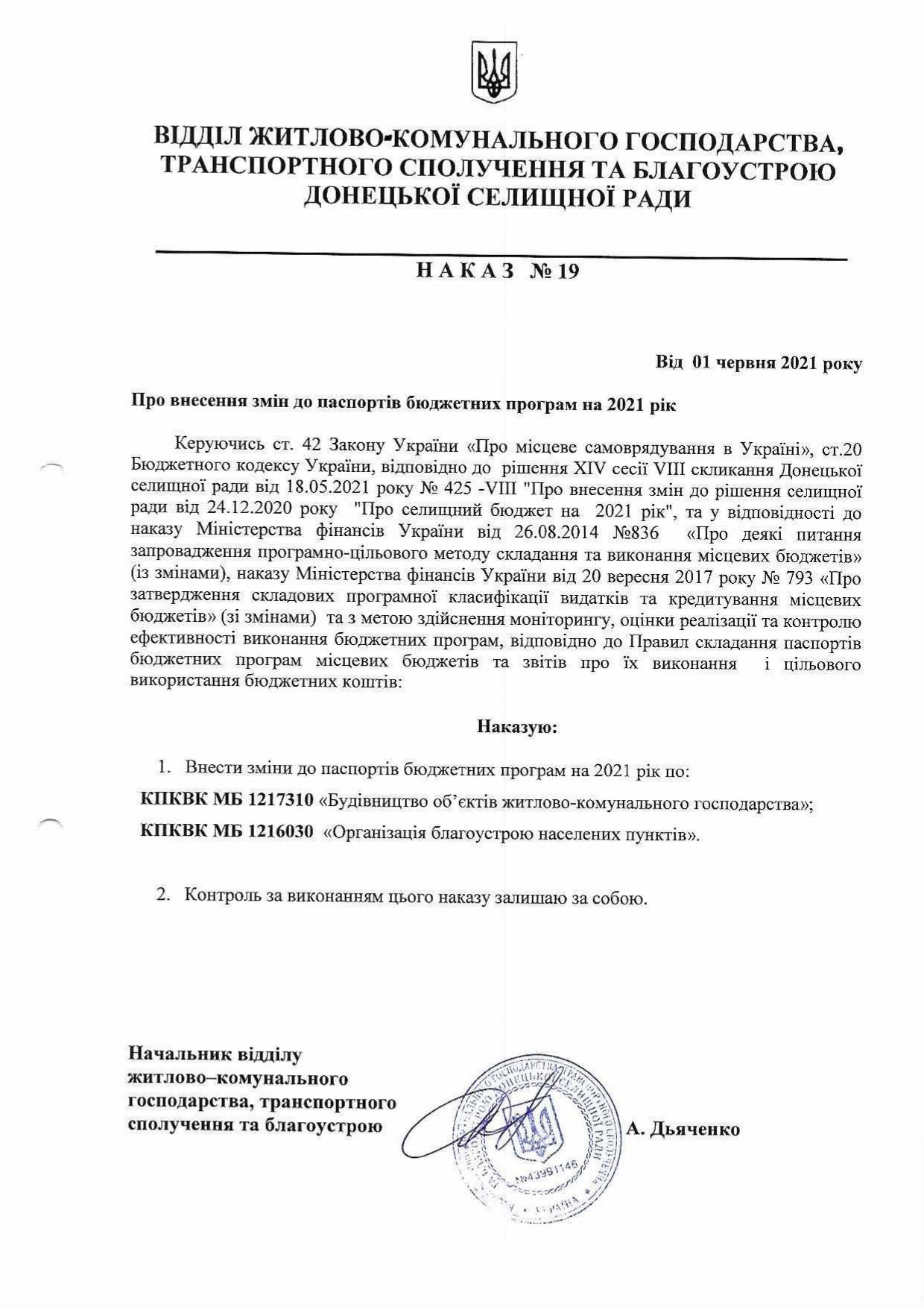 Наказ №19 Про внесення змін до паспортів бюджетних програм на 2021 рік та Паспорти