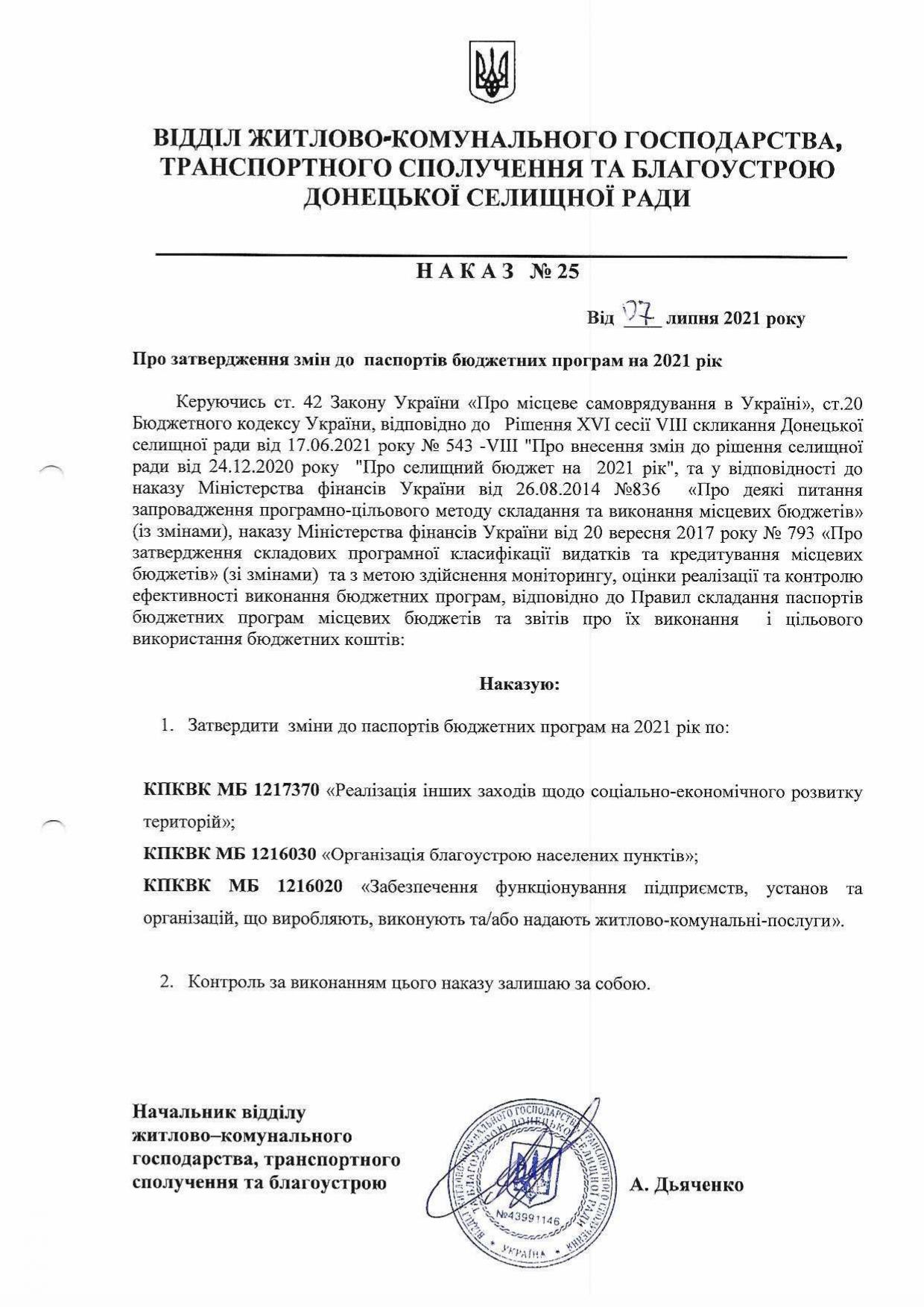 Наказ №25 Про затвердження змін до паспортів бюджетних програм на 2021 рік