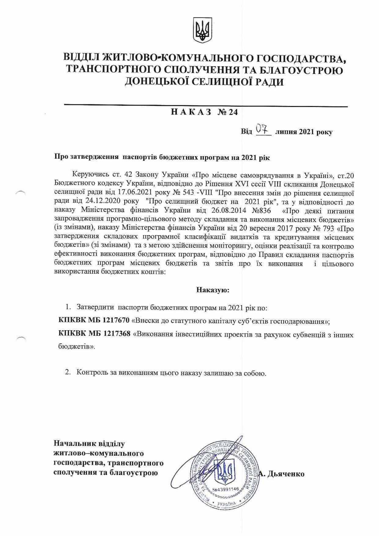 Наказ №24 Про затвердження паспортів бюджетних програм на 2021 рік