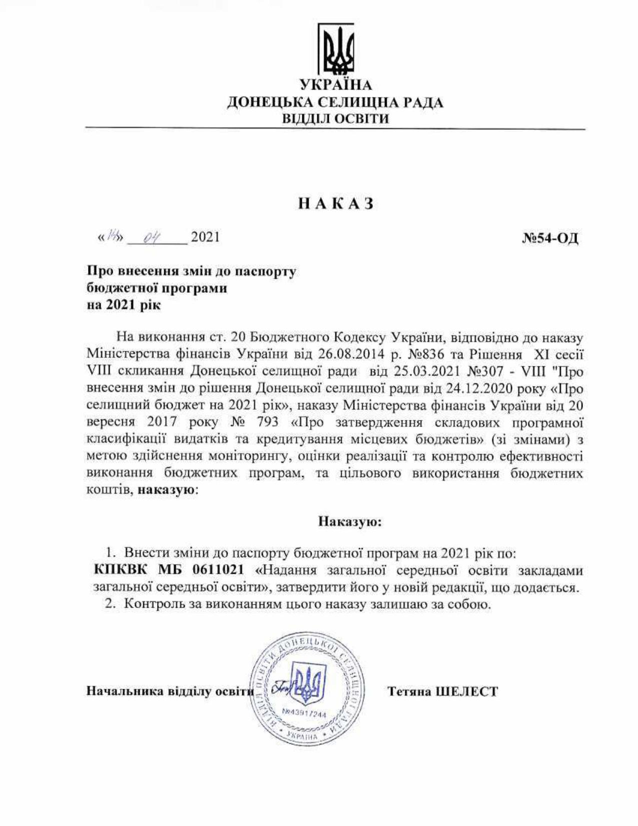 Наказ №54-ОД Про внесення змін до паспорту бюджетної програми на 2021 рік та Паспорт
