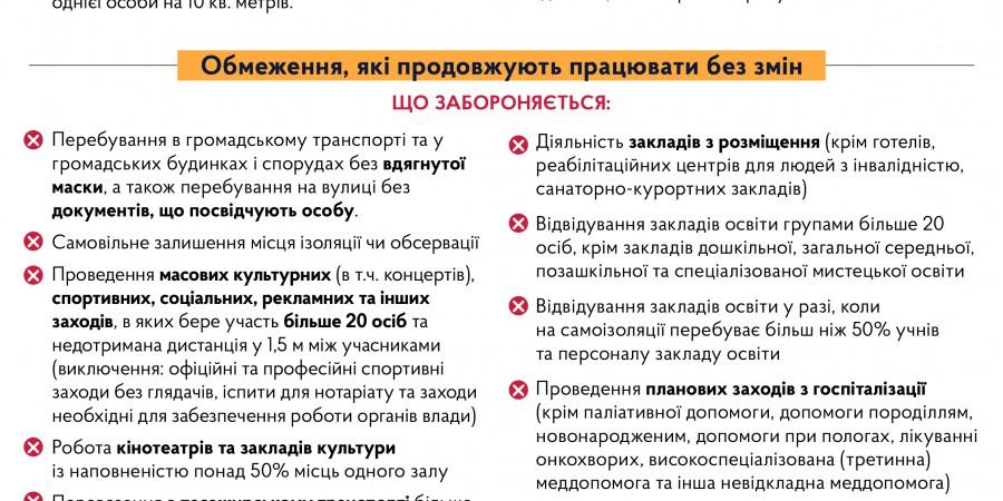 Перелік карантинних обмежень на всій території України з 19 грудня 2020 року