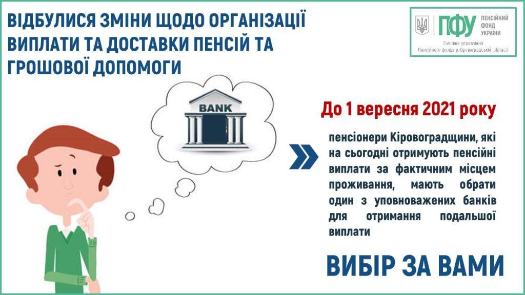 Понад 60 тисяч пенсіонерів Кіровоградщини до 1 вересня мають визначитися через який банк отримувати пенсію