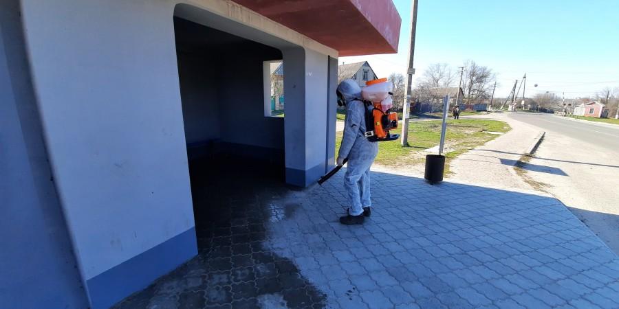 У Приютівській громаді розпочато дезінфекцію громадських місць