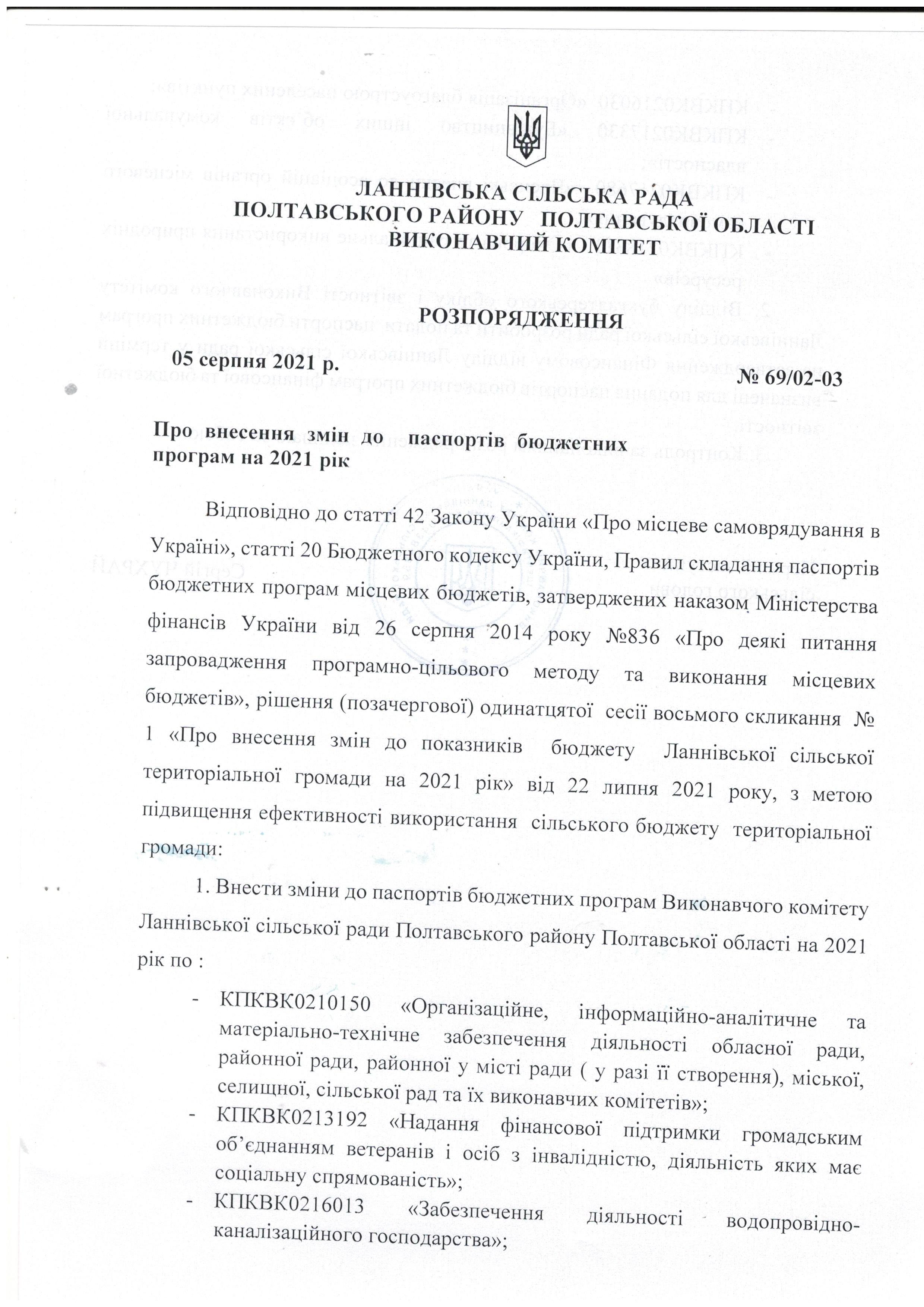 Розпорядження про внесення змін до паспортів бюджетних програм на 2021 рік 05.08.2021