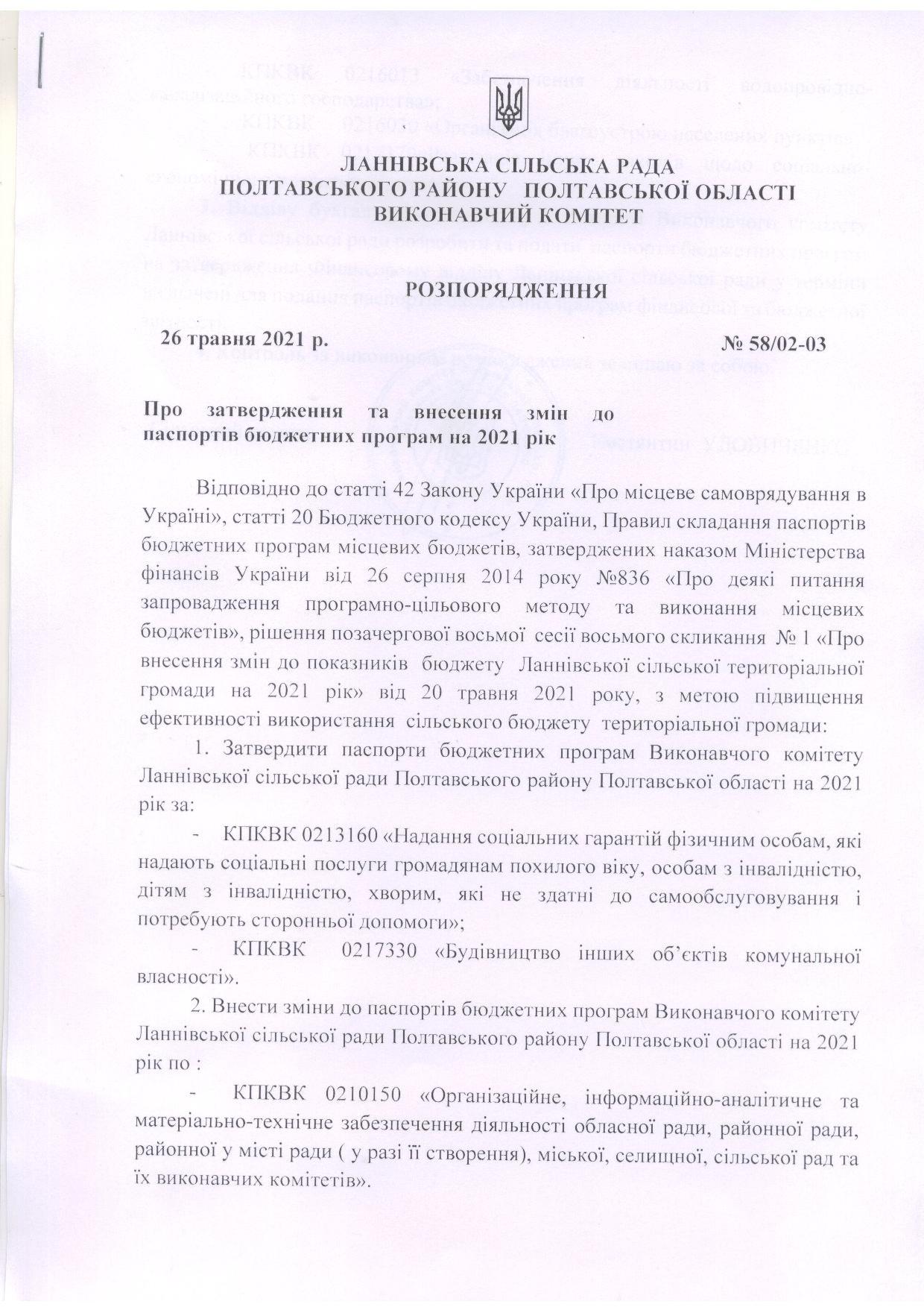 Розпорядження про затвердження змін до паспортів бюджетних програм на 2021 рік 26.05.2021