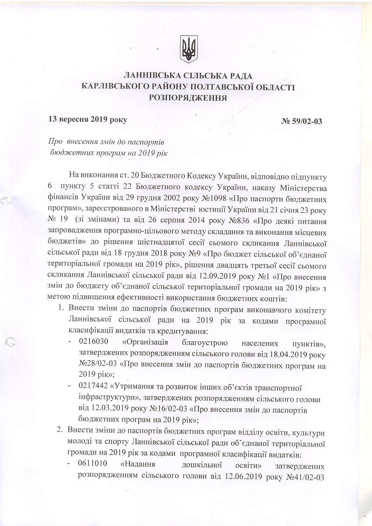 Про затвердження та внесення змін  до паспортів бюджетних програм на 2019 рік  від 13.09.2019