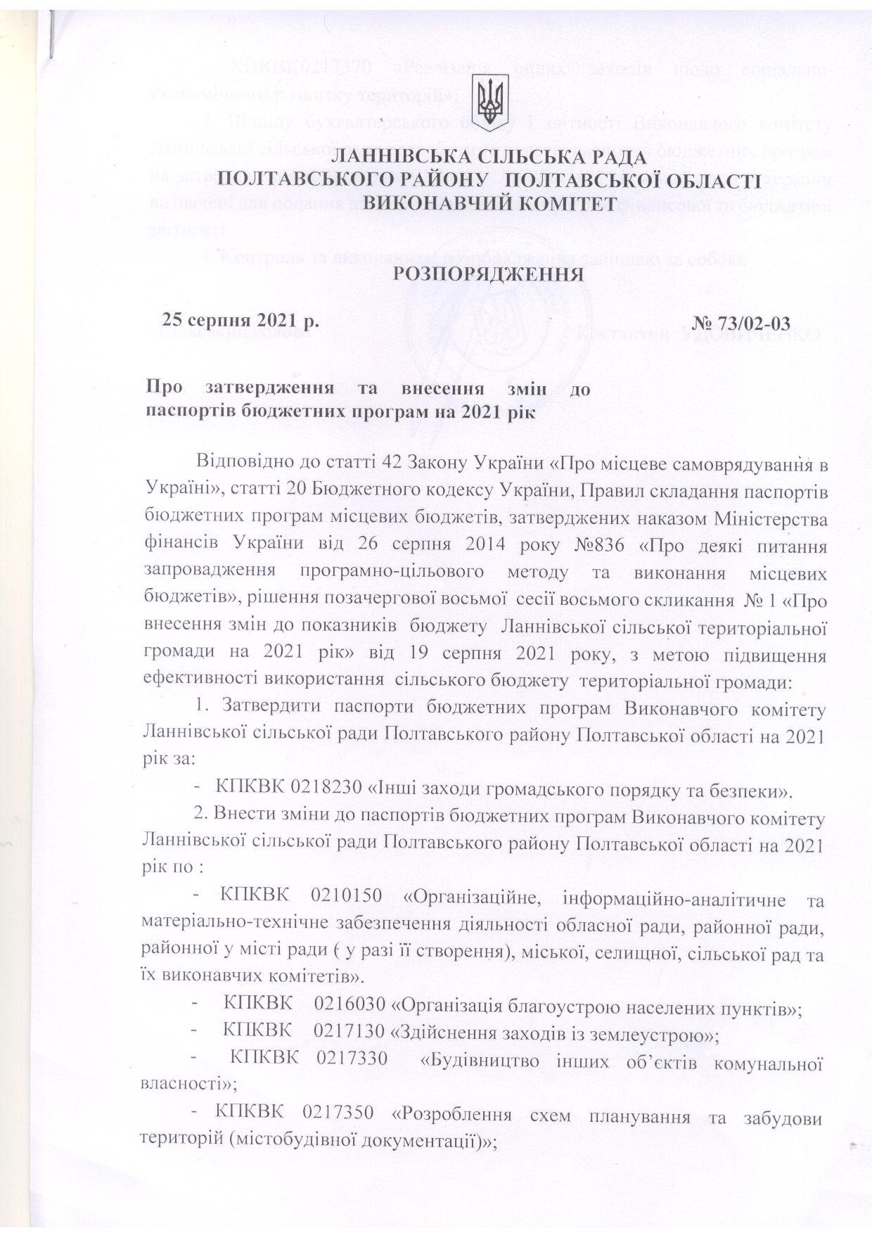 Розпорядження про внесення змін до паспортів бюджетних програм на 2021 рік 25.08.2021