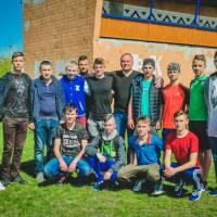 Глобинський міський голова з гравцями молодіжного складу ФК «Глобине»