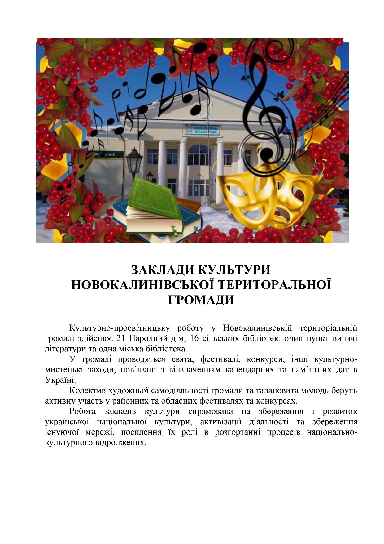zaklady kultury Novokalynivskoi TH