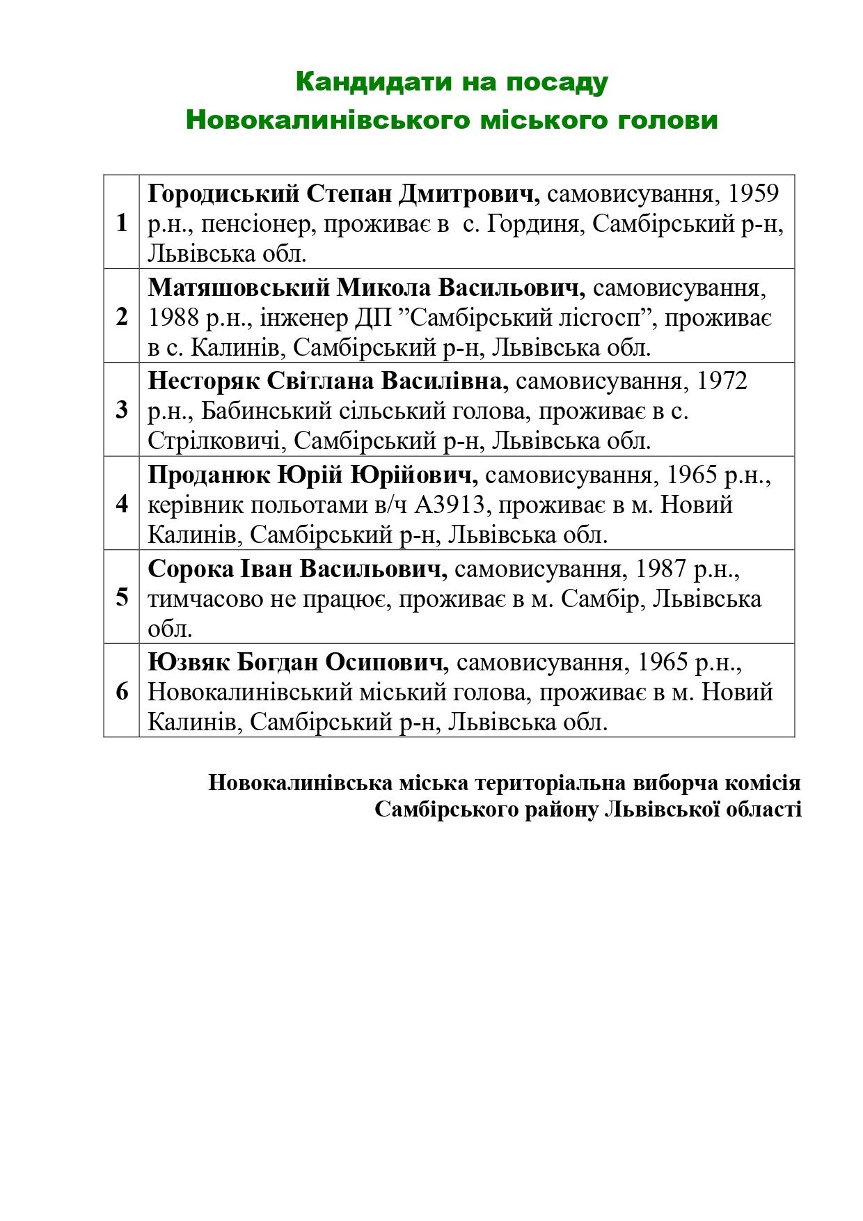 Novokalynivska miska terytorialna vyborcha komisiia informuie