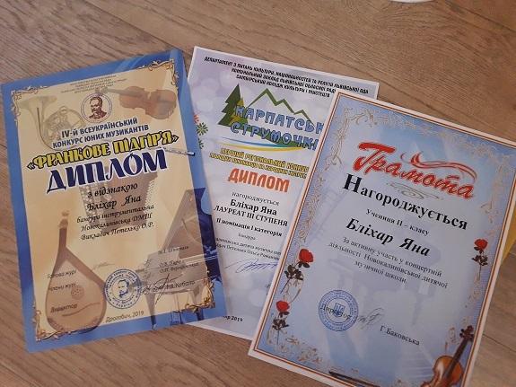 Novokalynivska dytiacha muzychna shkola, zvit, Yana Blikhar