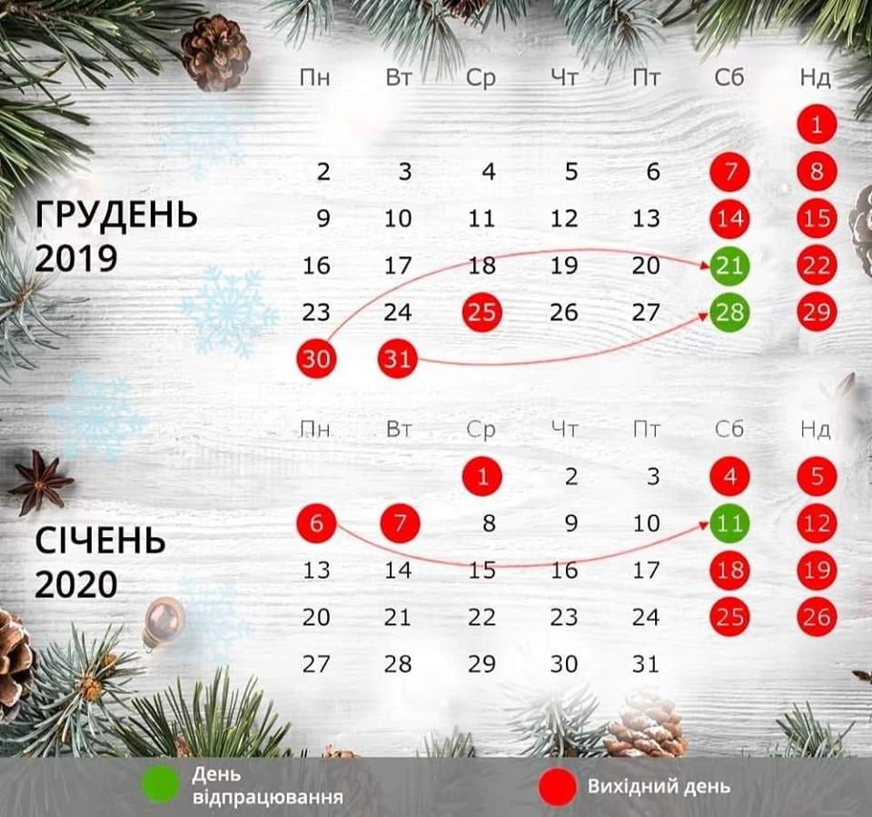perenesennia robochykh dniv 2020 Novyi Kalyniv