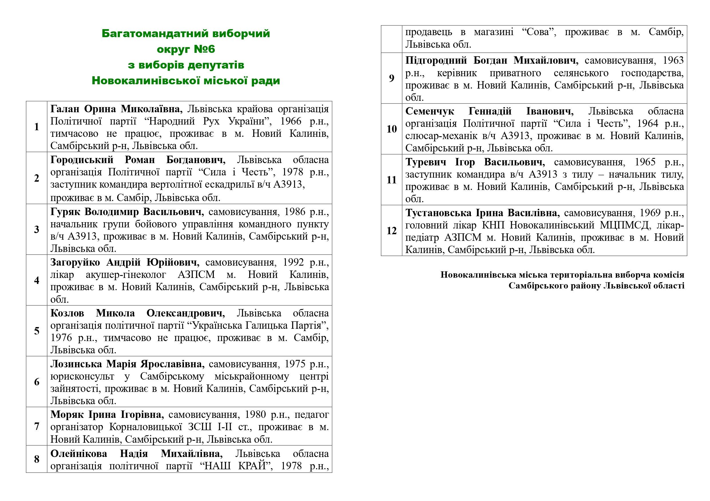 Bahatomandatnyi vyborchyi okruh №6 z vyboriv deputativ Novokalynivskoi miskoi rady