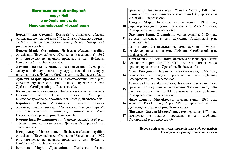 Bahatomandatnyi vyborchyi okruh №5 z vyboriv deputativ Novokalynivskoi miskoi rady