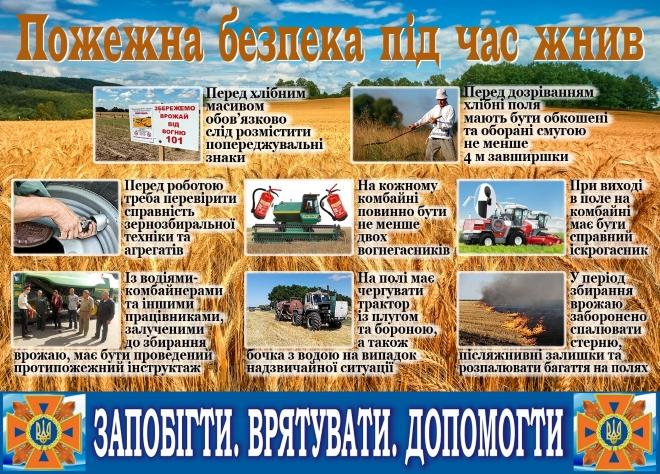 ІНФОРМАЦІЯ про забезпечення пожежної безпеки екосистем в період збирання врожаю.