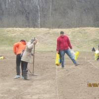 Працівники селищної ради на майбутньому стадіоні
