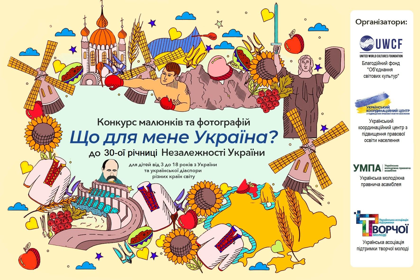 Запрошуємо дітей та підлітків до участі у Всеукраїнському конкурсі малюнків та фотографій «Що для мене Україна?»,