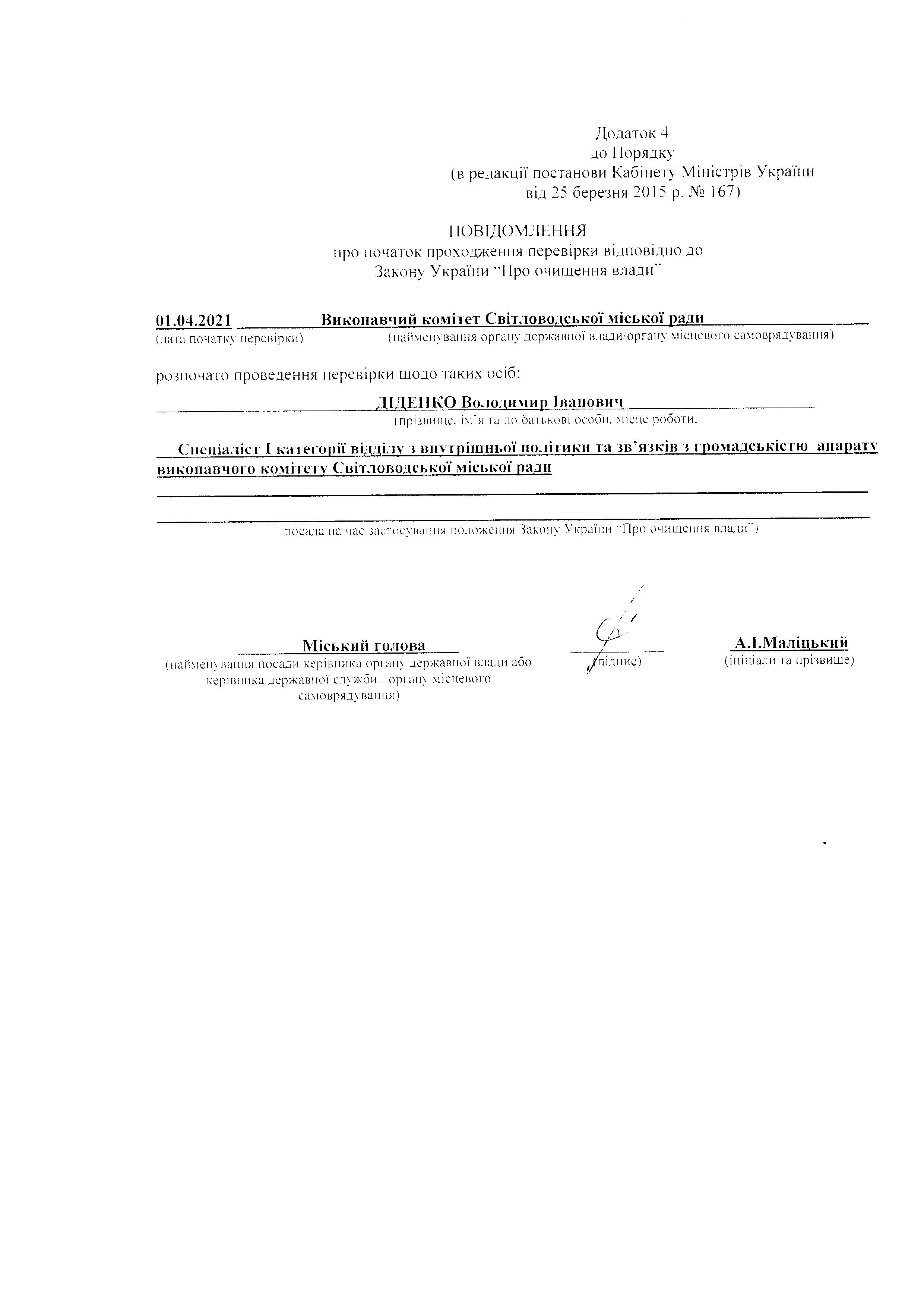 Результати перевірки Діденко В.І.